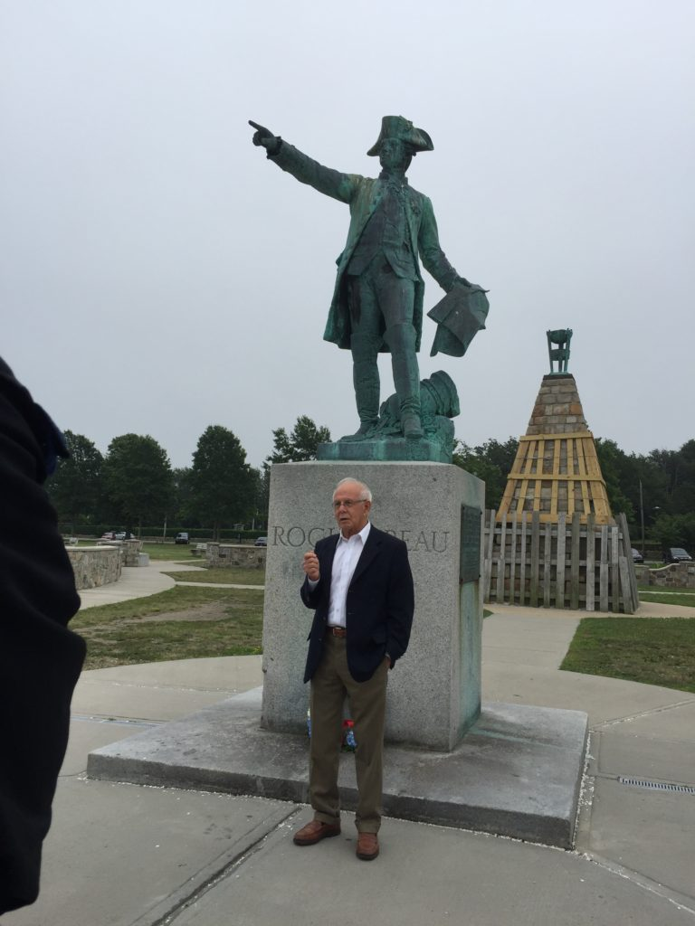 Le 14 juillet dedication at Newport Rochambeau statue